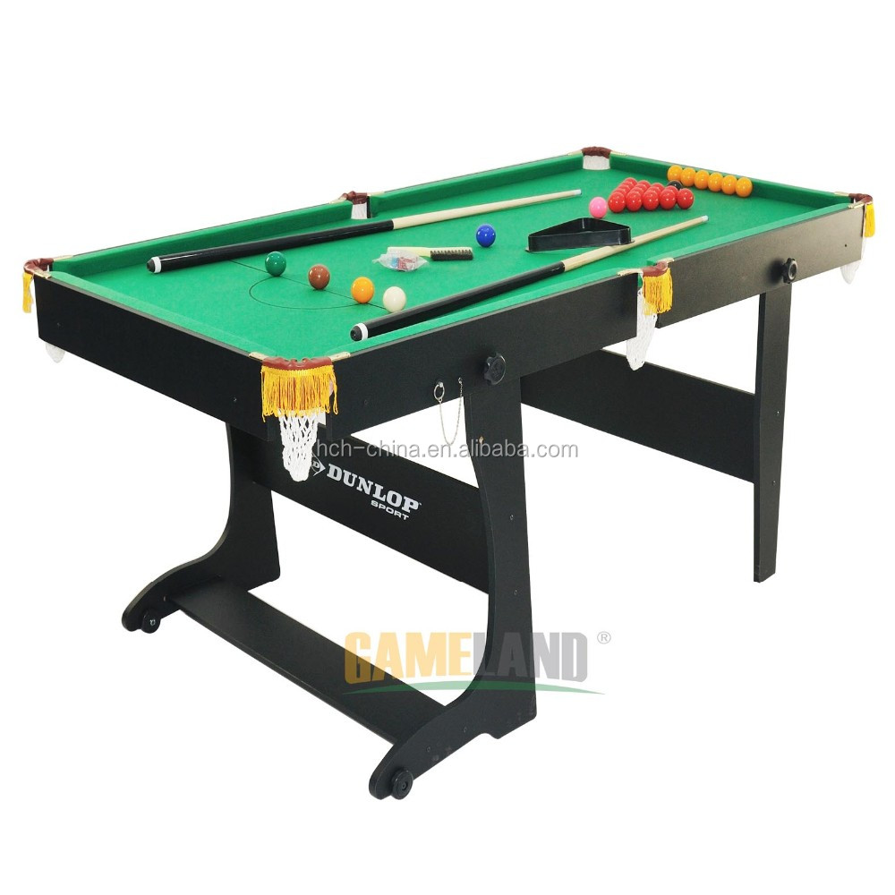 Foldable Pool Game Table With Wooden Folding Legs Snooker Table Game