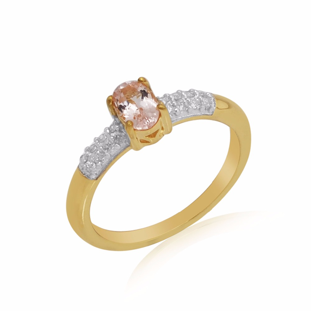 fabulous design diamond morganite ring 10k gold jewellery