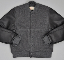 High quality wool varsity baseball jacket with genuine leather sleeves