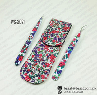 Beautiful flowers printed pouch with 2 same printed tweezers and empty tweezers