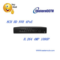 Eastern ED9308NV-4P HD H.264 4Mp 8CH Channel 4PoE Network Video Recorder NVR Surveillance Security System 1080P with Alarm Input