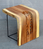 Repro hand carved side table with Art deco design made from 1 solid piece of Acacia wood