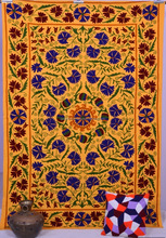 Indian Suzani Floral Embroidered Quilt Handmade Home Decor Bedspread Bed Sheet