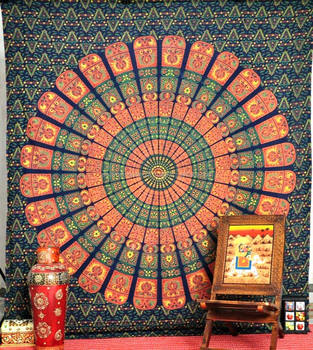 colored Mandala Tapestry Indian Wall Hanging, Bedsheet, Coverlet Picnic Beach Sheet , Superior Quality Hippie Wall Tapestr