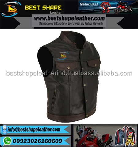 2017 New fashion Men's Premium Buffalo Leather Vest with Side Lacing for men's motorbike leather vest