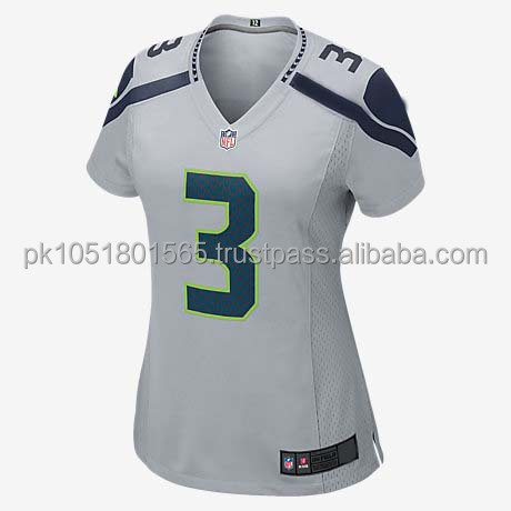 wholesale cheap national team latest designs youth sublimated custom (RUSSELL WILSON) WOMEN'S FOOTBALL JERSEY