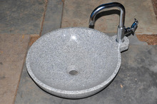 round grey granite washbasin sink