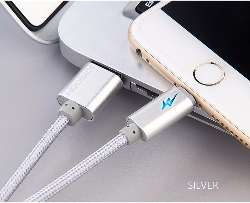 100% Original JOYROOM 1m metal fast charging Cable For iphone 6 6S for apple ipad air1/2/3 cable for ipad mini LED Data Cable