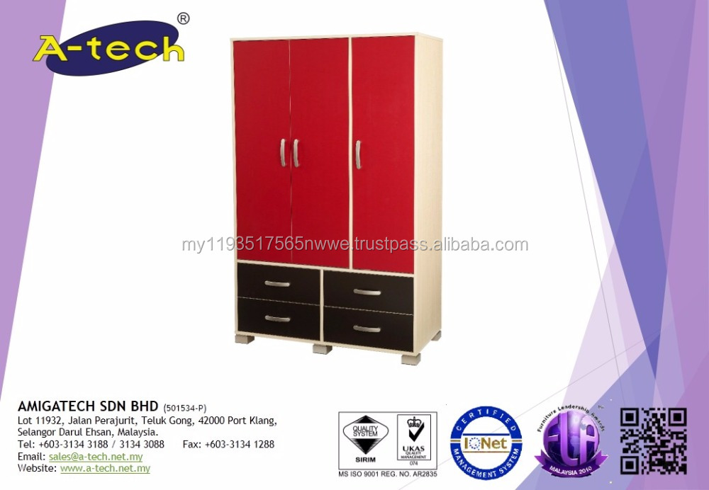 Athena - AT 10 3 Doors with 4 Drawers Wardrobe