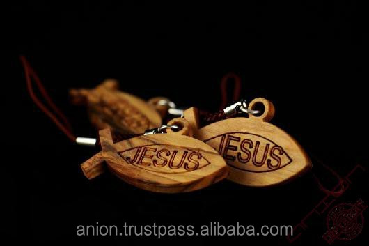Olive Wood St. Peter Fish and Jesus Keychain Pendant For Keys, Phones and Bags