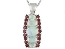 Ethiopian Opal With Umba River Rhodolite Silver Pendant With Chain Web Only, Silver Bangle Pendant, Solid Silver Pendant