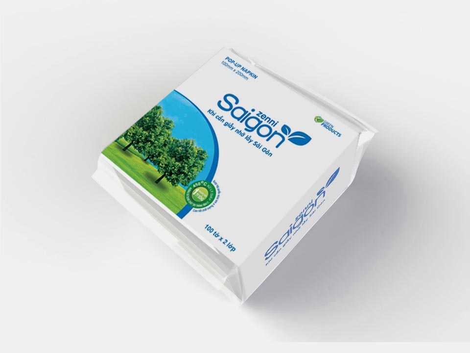 Saigon Zenni Pop-up Napkin 2 ply 100 sheets 100x200 mm per pack