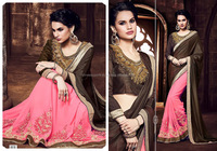 Palate Dark Brown Shimmer Georgette Saree/embroidered saree border/wholesale saree