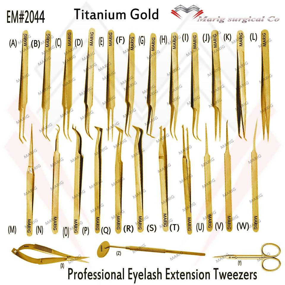 Totanium Gold Eyelash Extension Tweezers / All Type Stylish Tweezers Titanium Gold Eyelash Tweezers MARIG Surgical Co