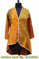 Women Fashion Long Sleeve Winter Wool Kantha Patchwork Jacket Indian Handmade Vintage Ethnic Wear Reversible Gudri Coat Blazer