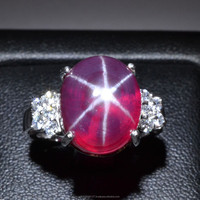 14x12 MM Ruby Star Sapphire Ring Lab-Created Sterling Silver 92.5 Size 6.57