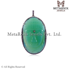 Buddha Pave Diamond Gemstone Chrysoprase Gemstone 92.5 Sterling Silver Gemstone Pendant Jewellery