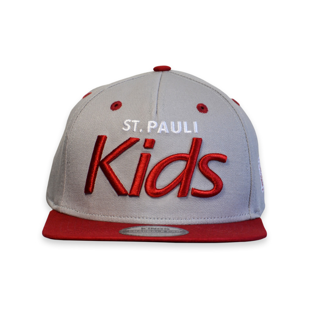 Kids Snapback Cap - 5 Panel With Peak - Fabric: Cotton Twill - Crown: Medium - Visor: A-Frame - Color: Gray & Pinot Red