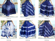 Blue indigo tie dye thai retro HIPPIE BOHO thai art Tie Dye handmade maxi long wide patchwork skirt
