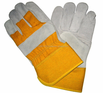Yellow Fabric Cow Leather Safety Gloves
