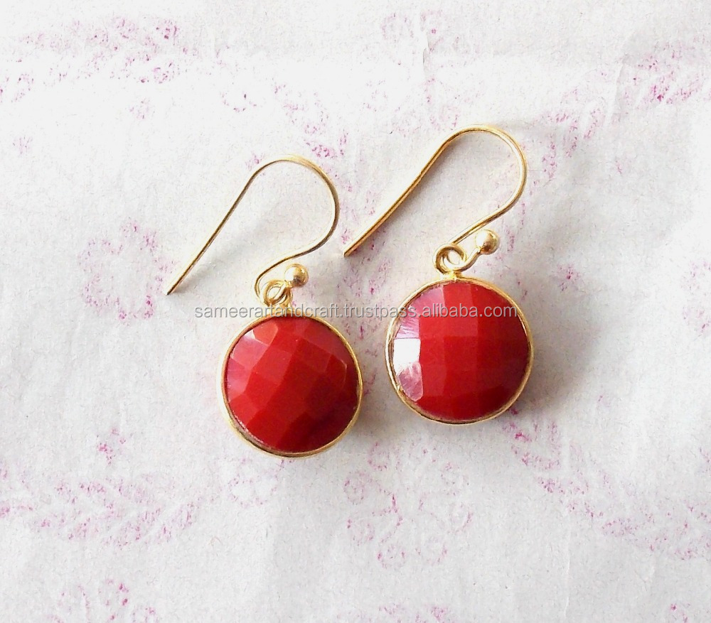 Carnelian Round Shape Gold Plated Earring
