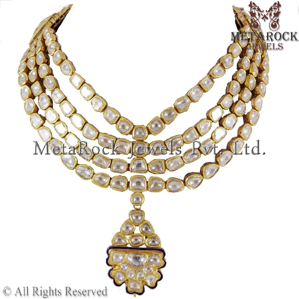 Latest Design Polki Diamond Necklace Jewelry Rose Cut Necklace Supplier