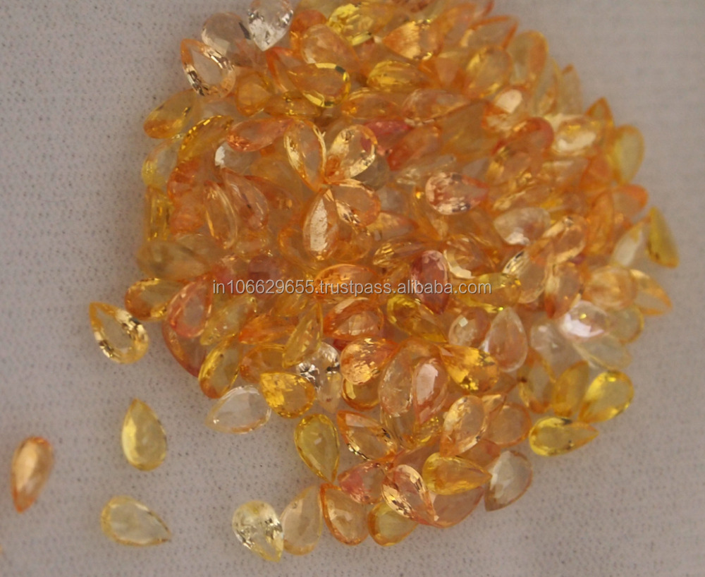 Loose yellow sapphire gemstones pear shape 3 x 5 mm cut natural loose gemstone