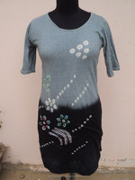 Long Length Cotton Hojari Knitted Fabric / Plain Tie Dye bandhej Printed T-shirts & Women Top's Wear