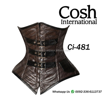 Ci-481 Dark Brown Leather Steelboned Waist Training Corset Supplier