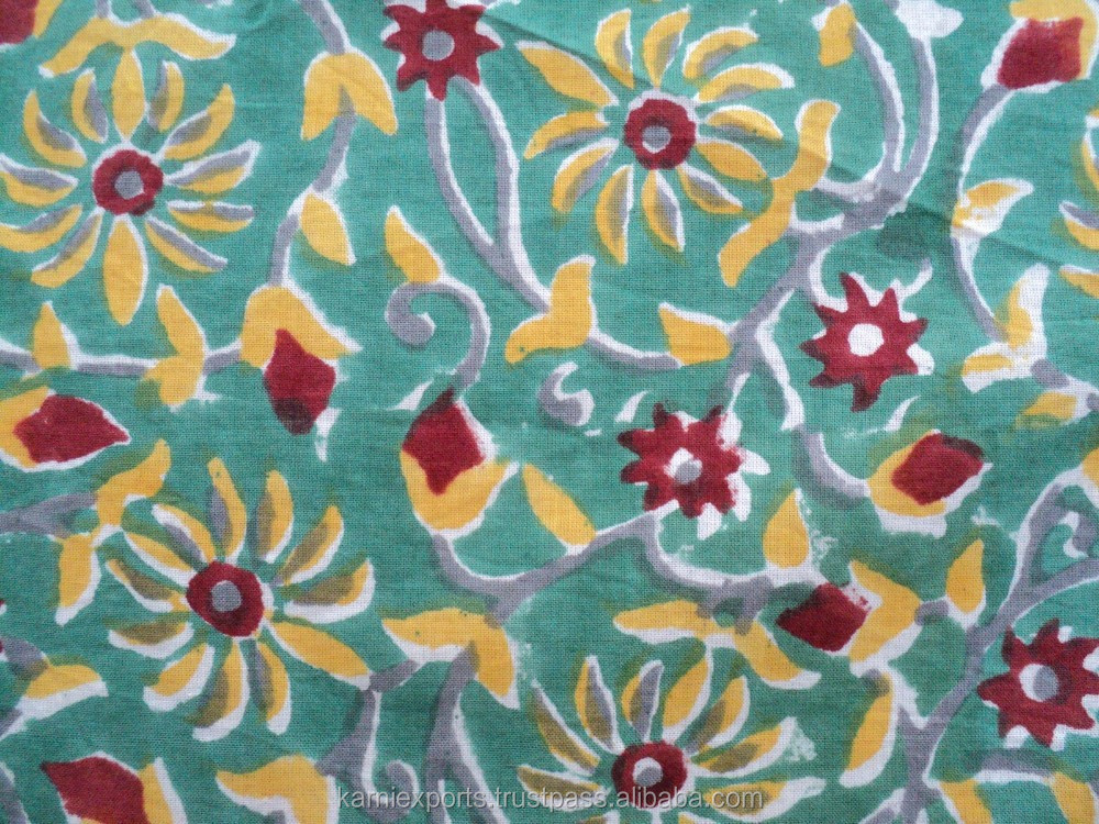 2016 Indian floral designs hand block designs available printed cotton fabric