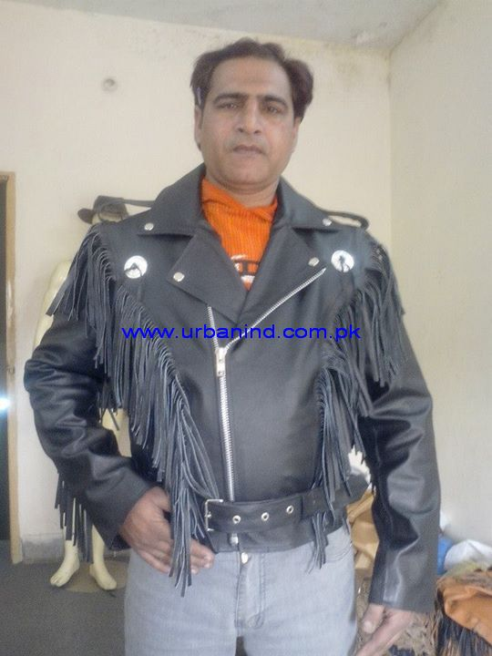 Men Motorcycle/Motorbike/Biker Men Fringe Western Leather Jacket With Removeable Belt, Fringe Western Jacket
