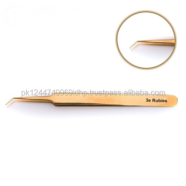 High Quality Tweezer semi curve Gold plated Eyelash Tweezers / Stainless Steel Fine Point Tip Eyelash Extension