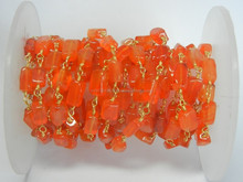 Carnelian Plain Bead Rectangles shape Gold Plated Beaded Chain