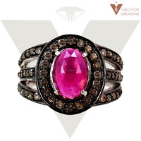 925 Sterling silver gemstone ring 14K Gold new design ruby ring wholesale jewelry