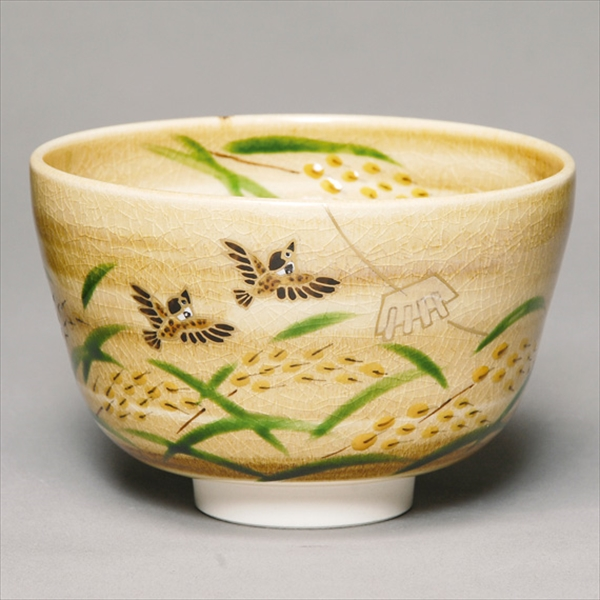 Feel the season and new products Autumn tea bowl kizi inahonisuzume with Tea utensils made in Japan
