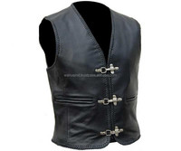 MENS Black LEATHER WAISTCOAT MOTORBIKE / MOTORCYCLE/ Biker Vest VARIOUS SIZES, Motorbike Leather Vest , Biker Vest WI-454