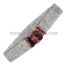 Elastic Beads Wooden Buckle Belt