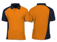 sports style orange color panel customized polo shirt with contrast black collar