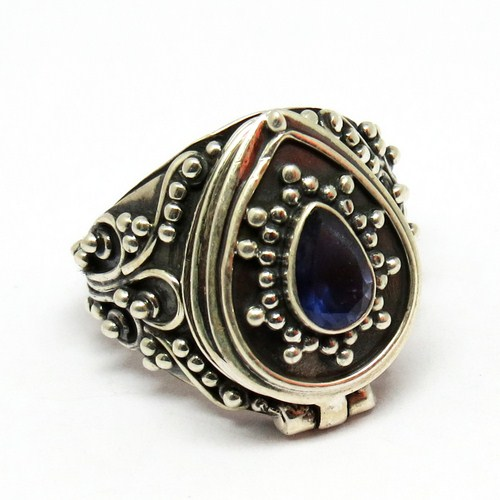 Poison Blue Iolite 925 Silver Oxidized Box Gemstone Ring, Fashion Silver Jewelry, Vintage Jewelry