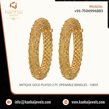 Antique Gold Plated Bangles Wholesaler and Manufacturers in India, Mumbai, Chennai, Wholesale Gold Plated Bangles Export - 10859