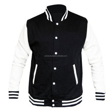 Black and white Wool & Leather Varsity Jacket available at low price