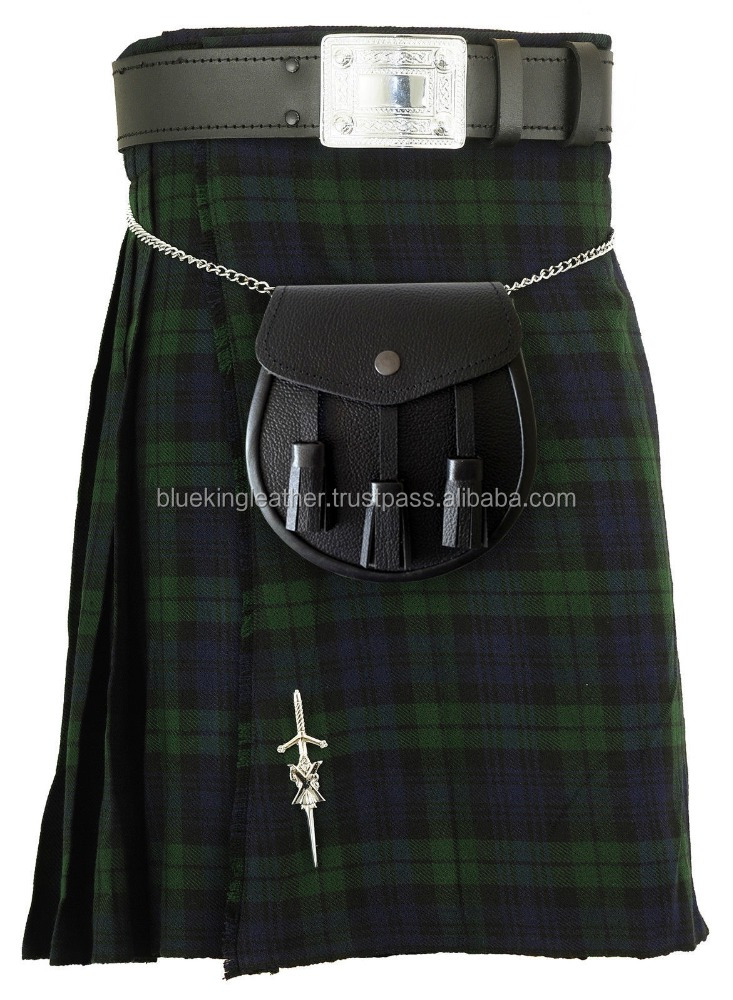 Black Watch Three Buckle & Straps Tartan Kilt With Belt & Buckle Sporran & Pin
