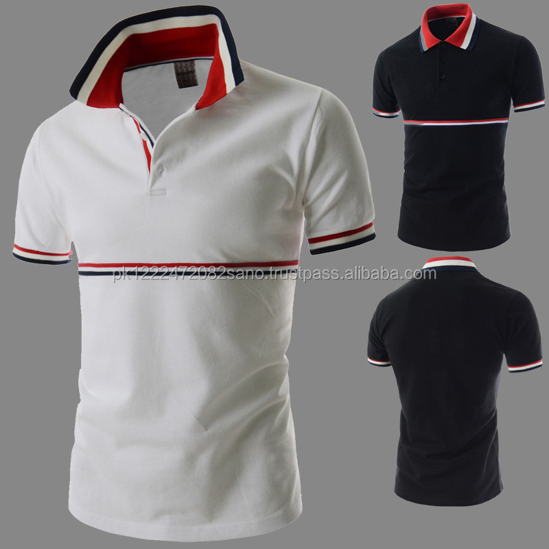 Fashion Lace Stitching Polo Shirt Mens Slim Short Sleeve Hot Sale stripe design Shirt