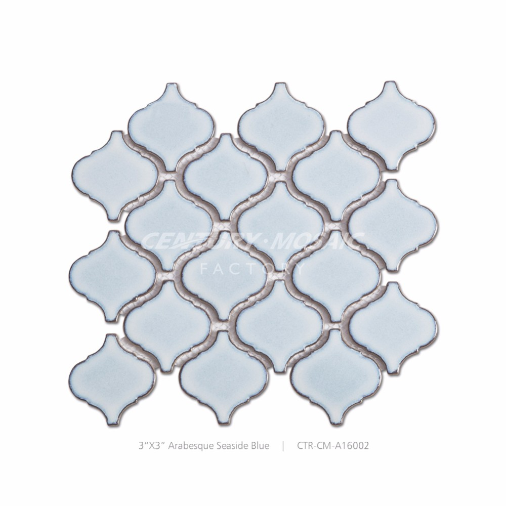 Century 3''x3'' Seaside Blue Arabesque Ceramic Mosaic Tiles