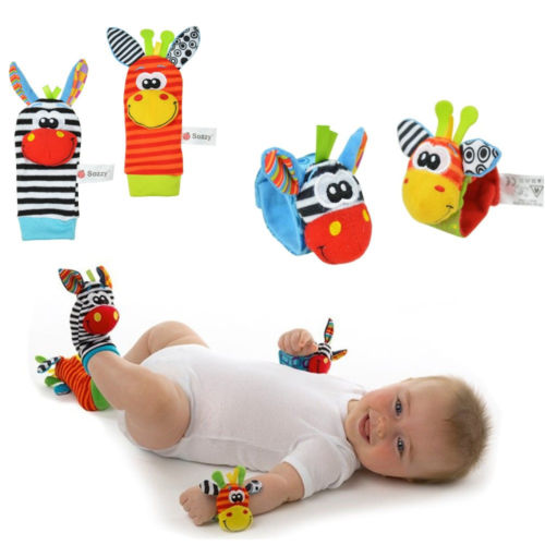 Baby Infant Soft Wrist rattles and Sock rattles Handbells Hand Foot Finders Socks Developmental Toys