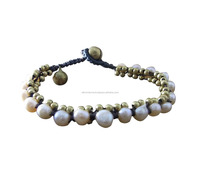 Fresh Water White Pearl And Brass Bead Handmade in Thailand Jewelry Fair Trade