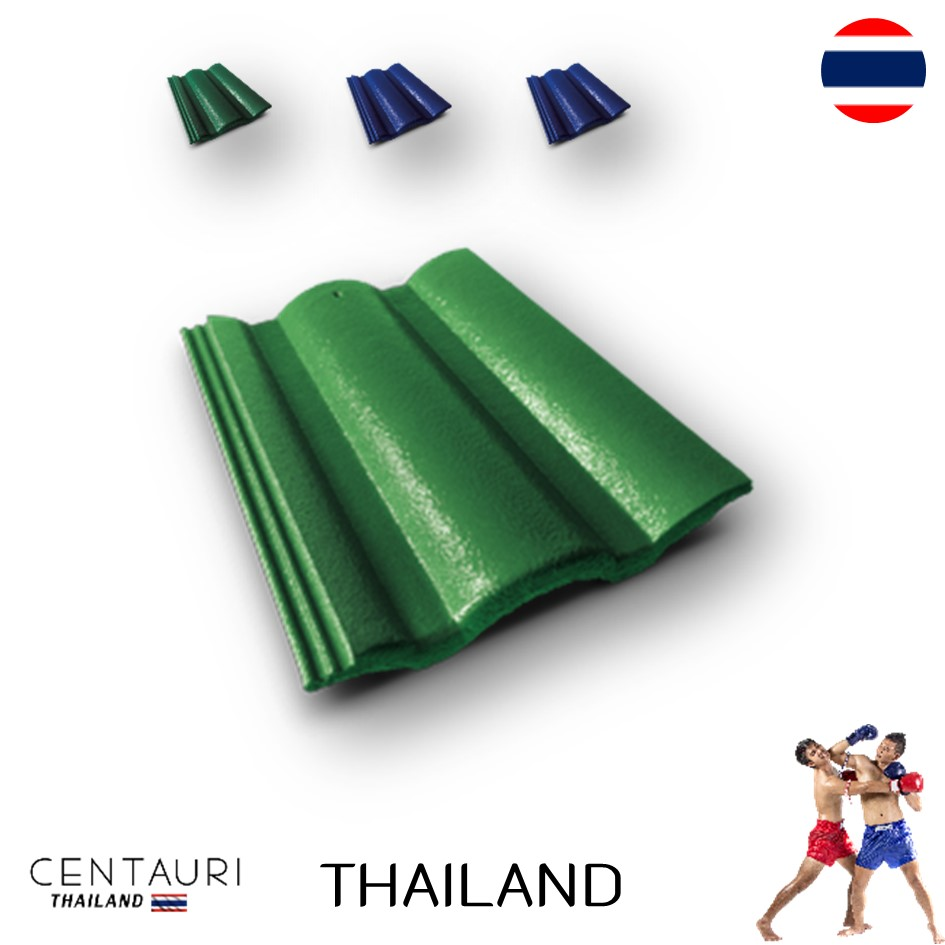 33*42 cm concrete carved new supergreen green blue full body Thai concrete roof tiles and roof tiles from Thailand