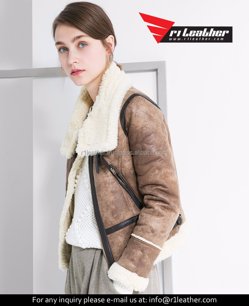 Haining new design slim lapel short real sheepskin leather women jacket