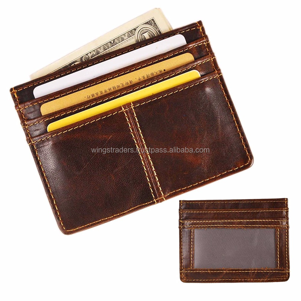 Factory Price Genuine Leather Thin Card Case Holder Slim Handy Wallet Front Pocket