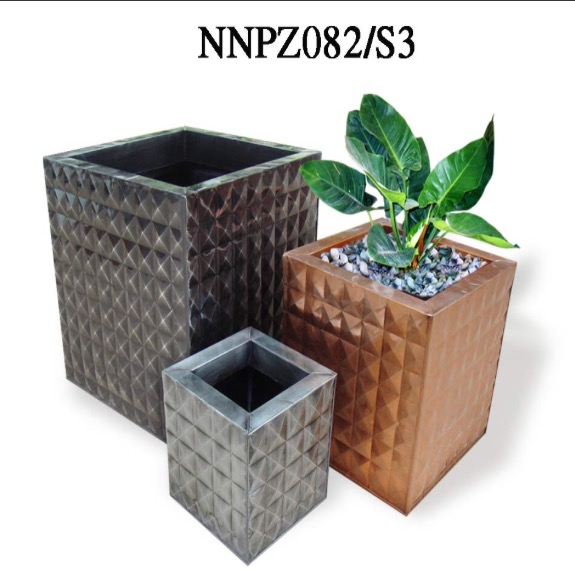 Square planter, stamping diamond, zinc pot, Black color